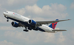 Delta Air Lines Boeing 777-200LR (N710DN) departs London Heathrow Airport 2ndJuly2014 arp.jpg