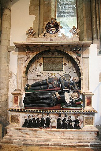 """Edward Denny (soldier) - The monument to Sir Edward Denny and his wife Lady Margaret, with """"weepers"""" depicting their seven sons and three daughters."""