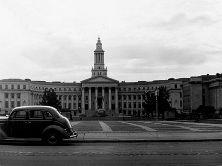 Denver City and County Building (circa 1941), looking west. Denver City Hall 1941.jpg