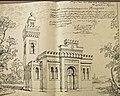 Dessin du projet de mosquée dans le Jardin Colonial, 1916-Arabic script.jpg