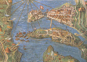 Fortifications of Senglea - Map of Senglea (bottom) and Birgu (top) during the Great Siege of Malta