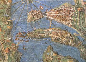 Fortifications of Birgu - Map of Birgu (top) and Senglea (bottom) during the Great Siege of Malta