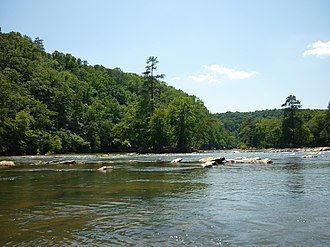 Chattahoochee River - The Chattahoochee River at the Devil's Shoals, East Palisades Park, Fulton County, Georgia