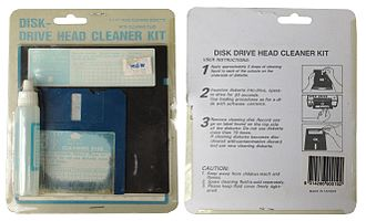 Floppy disk - Front and rear of a retail 3.5-inch and 5.25-inch floppy disk cleaning kit, as sold in Australia at retailer Big W, circa early 1990s.