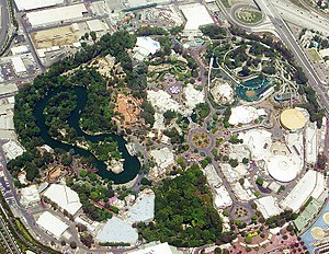 Disneyland Resort - Aerial view of Disneyland Park in 2004.