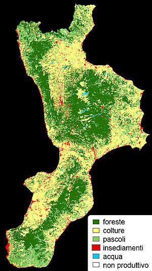 Distribuzione demografica e sfruttamento del territorio calabrese.