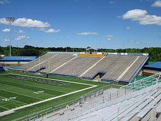 Memorial Stadium (Kent State) - Original grandstand of Memorial Stadium in 2014 at Dix Stadium as the north end zone seats