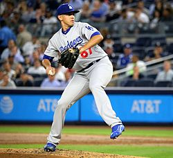 Dodgers starter Jose De Leon throws a pitch in the first inning. (29561463031).jpg