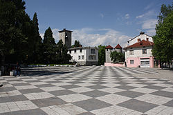 Dolna Banya square with the clock-tower and the Library