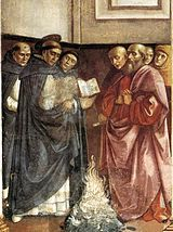 Domenico Ghirlandaio - St Dominic Burning Heretical Writings WGA.jpg