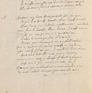 "Holy Sonnets - Handwritten draft of Donne's Sonnet XIV, ""Batter my heart, three-person'd God"", likely in the hand of Donne's friend, Rowland Woodward, from the Westmoreland manuscript (circa 1620)"