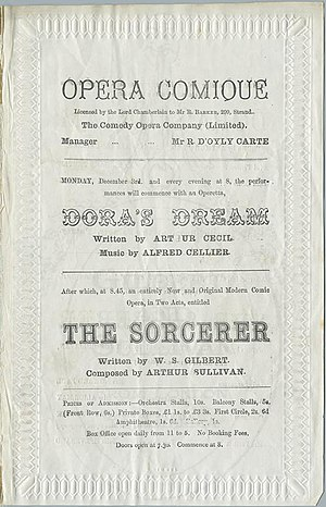 Alfred Cellier - Programme for Dora's Dream and The Sorcerer from 1877