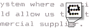 Close-up of text from a dot-matrix printer. Th...
