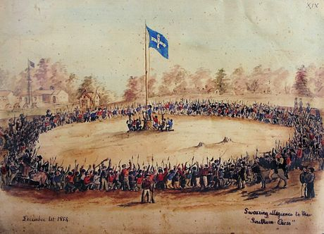 Swearing Allegiance to the Southern Cross at the Eureka Stockade on 1 December 1854 - watercolour by Charles Doudiet Doudiet Swearing allegiance to the Southern Cross.jpg