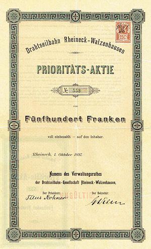 Rheineck–Walzenhausen mountain railway - Image: Drahtseilbahn Rheineck Walzenhausen 1897