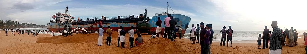 Dredger ship 'Hansitha' washed ashore in Kollam city
