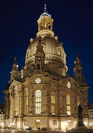 Reconstruction (architecture) - Frauenkirche (Church of Our Lady, opened in 2005) in Dresden, Germany, reconstructed after its destruction during World War II.