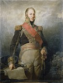 Painting shows a bareheaded man from head to knees. His right hand rests on a map while his left hand grips his sword. He wears a dark blue military coat with a high collar and gold epaulettes, red sash, and tan breeches.