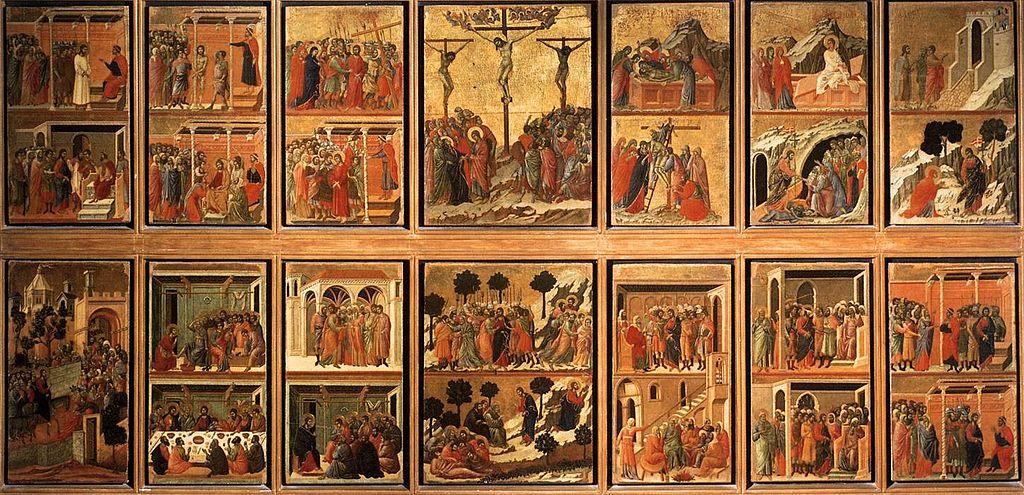 Duccio di Boninsegna, Maestà del Duomo di Siena (1308-1311), il lato delleStorie della Passione, tempera e oro su tavola, dal Duomo di Siena, Museo dell'Opera della Metropolitana, Siena