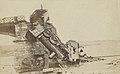 Duitse locomotief op de brug bij Le Theux, kapotgeschoten tijdens de Frans-Duitse oorlog van 1870-71, RP-F-2017-19-1.jpg