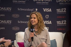 Belgium in the Eurovision Song Contest 2016 - Laura Tesoro during a press meet and greet