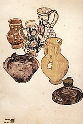 Egon Schiele: Still life with crockery