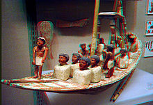 model of ancient Egyptian ship.
