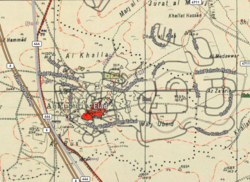 El'ad 2020 street map overlaid on Survey of Palestine map from 1941 (cropped).png