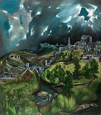 Vista de Toledo (h. 1596–1600).  Reelaboración del paisaje acentuando los desniveles con edificios tétricos en una atmósfera alucinada. Se ha establecido un paralelismo con la tempestad de Giorgione.