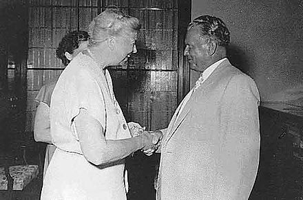 Josip Broz Tito greeting former U.S. first lady Eleanor Roosevelt during her July 1953 visit to Yugoslavia Eleanor Roosevelt and Josip Broz Tito 1953.jpg