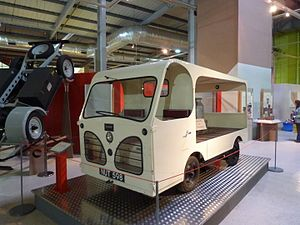 Harbilt Electric Trucks - A 1956 model 735 Harbilt milk float, one of the first ride-on battery electric road vehicles produced by the company, on display at the defunct Snibston Discovery Museum