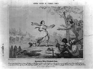Project Appleseed - A 19th century depiction of young Elizabeth Zane's legendary feat of retrieving powder during the Revolutionary War