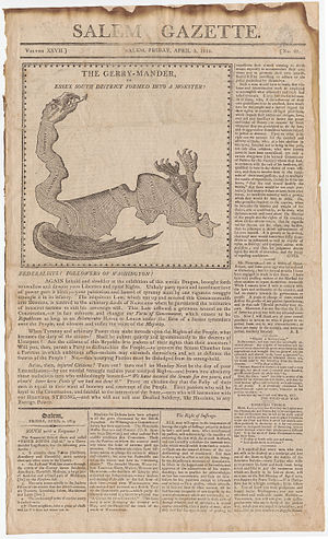 "Gerrymandering - This satirical map reflects the origin of the word ""gerrymander"", by Elkanah Tisdale in 1813."