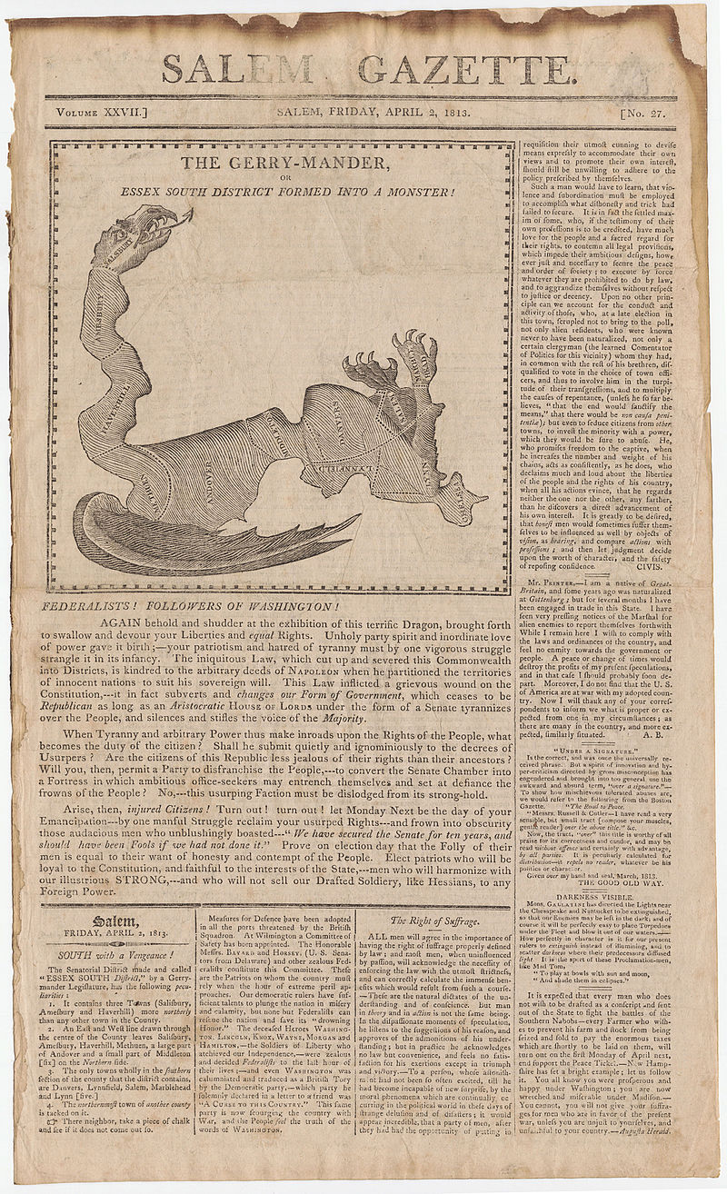 Elkanah Tisdale, The Gerry-Mander Map, 1813 Cornell CUL PJM 1034 01.jpg