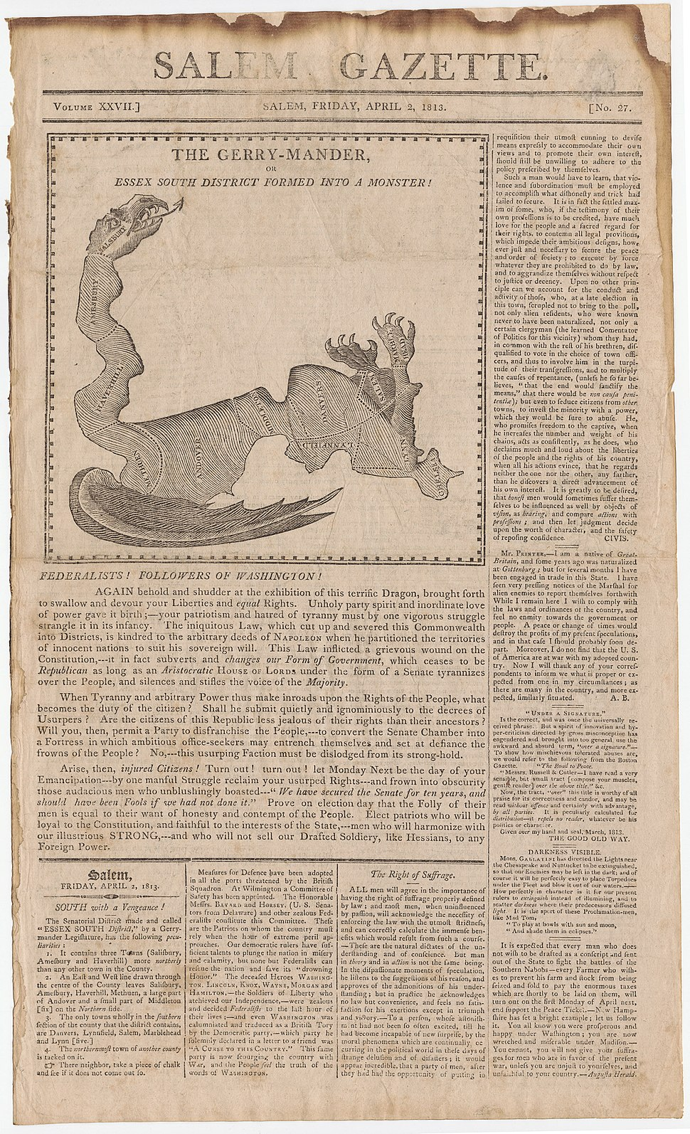 Elkanah Tisdale, The Gerry-Mander Map, 1813 Cornell CUL PJM 1034 01