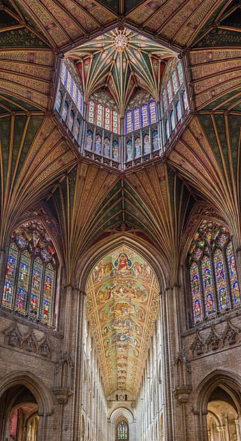 The ceiling of the nave and lantern, viewed from the Octagon looking west Ely Cathedral Octagon Lantern 3, Cambridgeshire, UK - Diliff.jpg