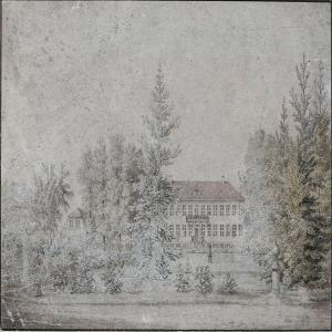 Emdrup - H. G. F. Holm:Emdrupgård seen from the garden (c. 1840)