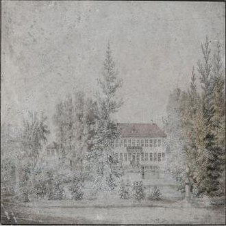Emdrup - H. G. F. Holm:Emdrupgård seen from the garden (c. 1840)