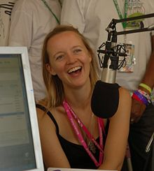Emily Eavis drops into the Worthy FM studio for a chat (cropped).jpg