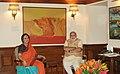 Eminent classical dancer, Sonal Mansingh calling on the Prime Minister, Shri Narendra Modi, in New Delhi on June 07, 2014.jpg
