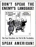 poster contro la lingua italiana in USA