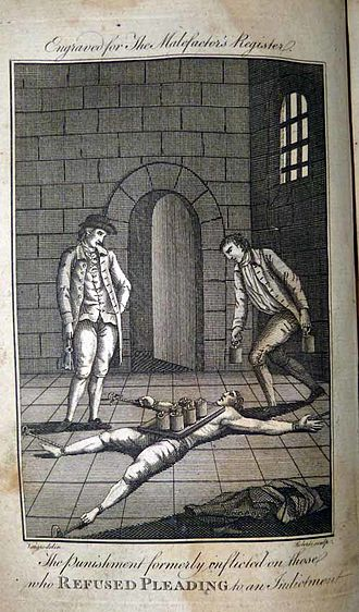 William Spiggot - The punishment peine forte et dure for a refusal to plead in London. Engraving published in the 1780 edition of the Malefactor's Register or Newgate Calendar
