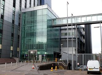 Stadium House, Cardiff - Entrance to Stadium House and the skyway which links to Park Gate in Westgate Street