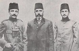 Enver Pasha - Enver (left) with his father, Ahmed Bey (center), and half-brother Nuri Pasha (later Nuri Killigil; right).