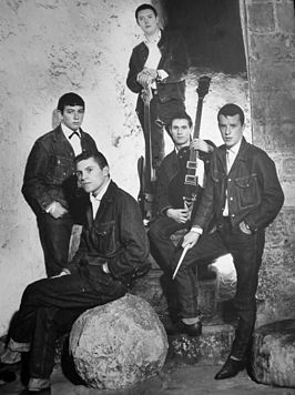 Publiciteitsfoto van The Animals (1964). Van links naar rechts Eric Burdon (zang), Alan Price (keyboards), Chas Chandler (bas), Hilton Valentine (gitaar) en John Steel (drums)