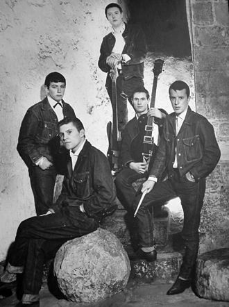 The Animals - Posing for publicity in 1964: from left to right, Eric Burdon (vocals), Alan Price (keyboards), Chas Chandler (bass), Hilton Valentine (guitar), John Steel (drums)