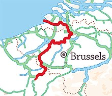 Location of navigable river Schedt/Escaut