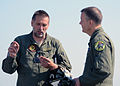 Estonian air force Lt. Col. Arvo Palumae, left, speaks with U.S. Air Force Brig. Gen. Scott Kelly, the commander of the 175th Wing, Maryland Air National Guard, before a flight in an Estonian air force L-39 130606-Z-YE885-001.jpg