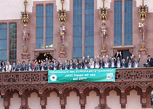 "UEFA Women's Championship - Reception of Germany women's national football team, after winning the 2009 UEFA Women's Championship, on the balcony of Frankfurt's city hall ""Römer"""