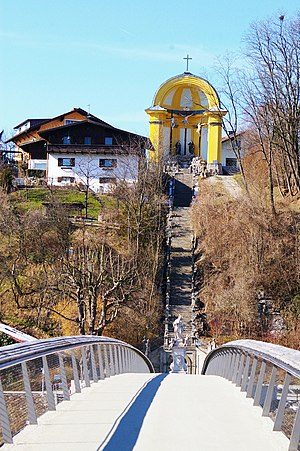 Laufen, Germany - Pedestrian bridge connecting Laufen with its former suburb Altach (Oberndorf)